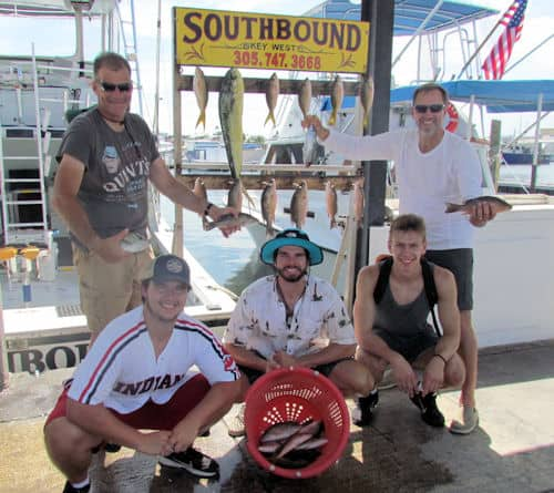 Snappers, dolphin and a tuna caught in Key West with Southbound Sportfishing