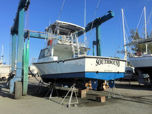 Southbound in the boat yard and ready to go back in the water in Key West Florda