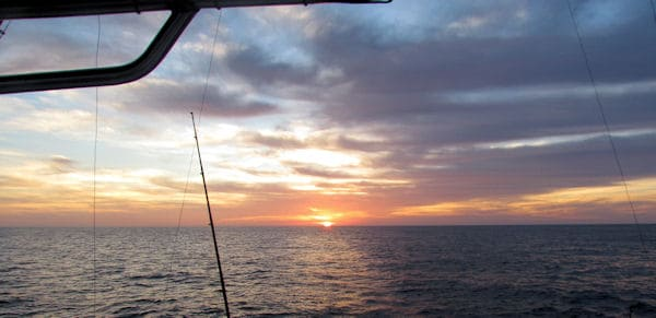 Sun setting as we head home on an offshore Tuna fishing trip with Southbound Sportfishing in Key West Florida