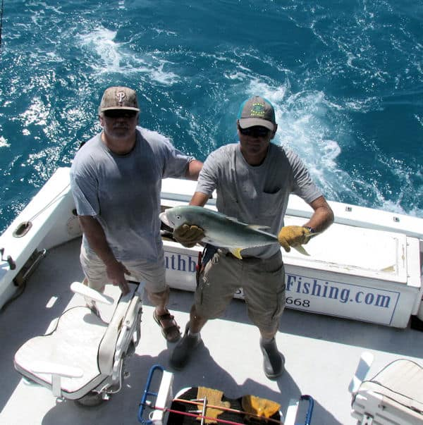 Big Barracuda caught and released in Key West on the reef on charter fishing trip with Southbound