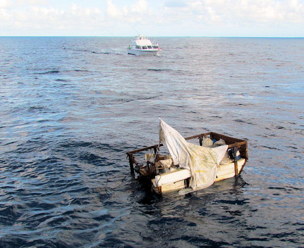 Cuban Raft found off Key West while fishing on charter boat Southbound