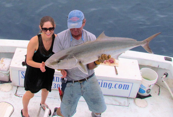 Amberjack caught and released in Key West fishing on charter boat Southboun