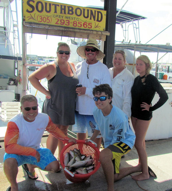 Yellowtail and Mangro snappers caugth in Key West fishing on charter Boat Southbound