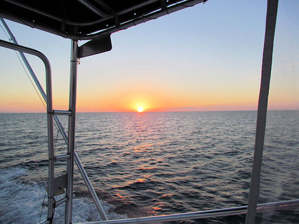 Great Sunset on the way home from fishing Key West on charter boat Southbound from Charter Boat Row Key West