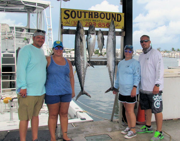 Wahoo, Kingfish, Bonito and Black Fin Tuna caught in Key West fishing on Charter Boat Southbound