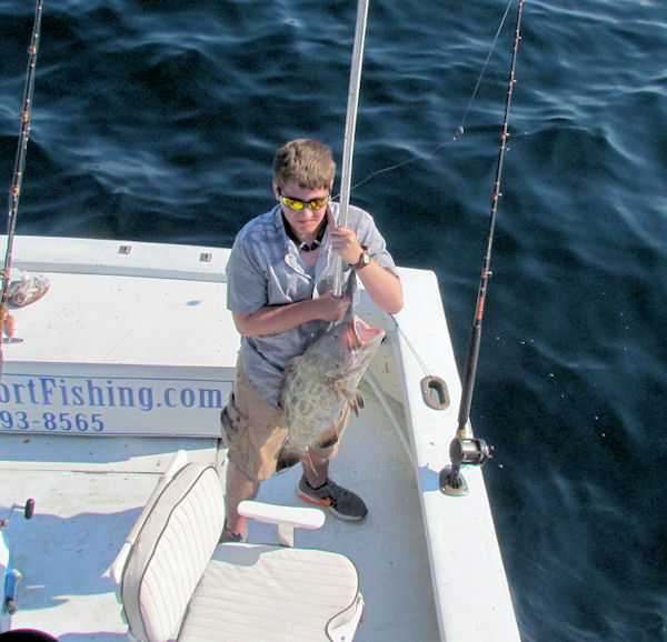 14 lb Black Grouper  caught in Key West fishing on charter boat Southbound