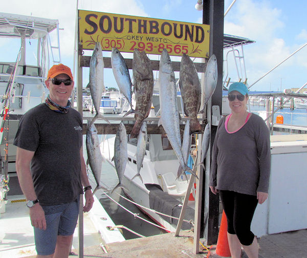 Grouper, Mackerel , Bonito and a nice Kingfish caught in Key West fishing on charter boat Southbound