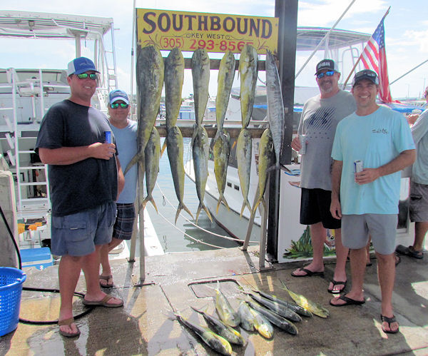 Good catch of Dolphin and a Wahoo caught in Key West fishing on Key West charter fishing boat Southbound