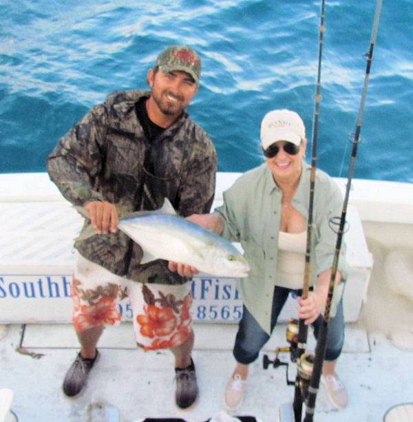 Big yellow jack caught and released in Key West fishing on charter boat Southbound