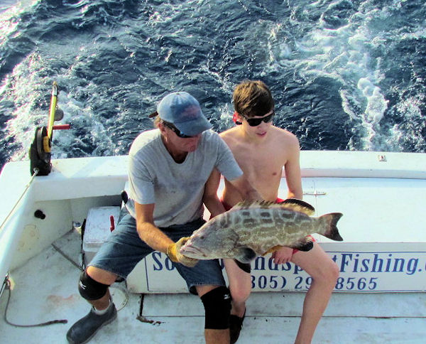 Black Grouper caught and released in Key West fishing on charter boat Southbound