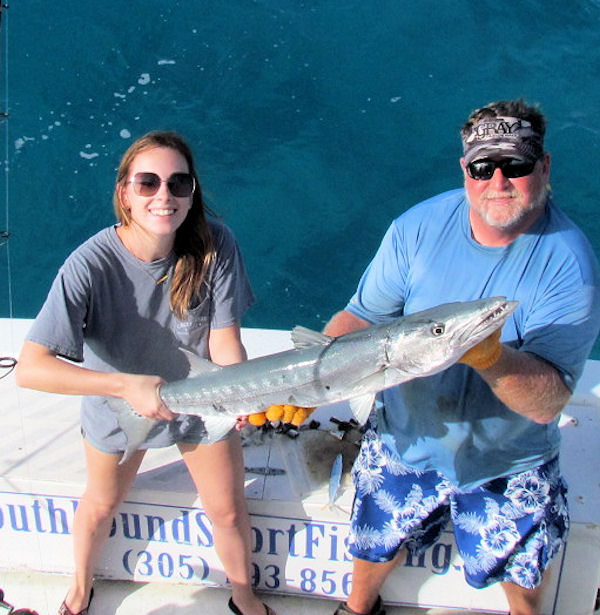 Big barracuda caught and released in fishing in Key West on charter boat Southbound