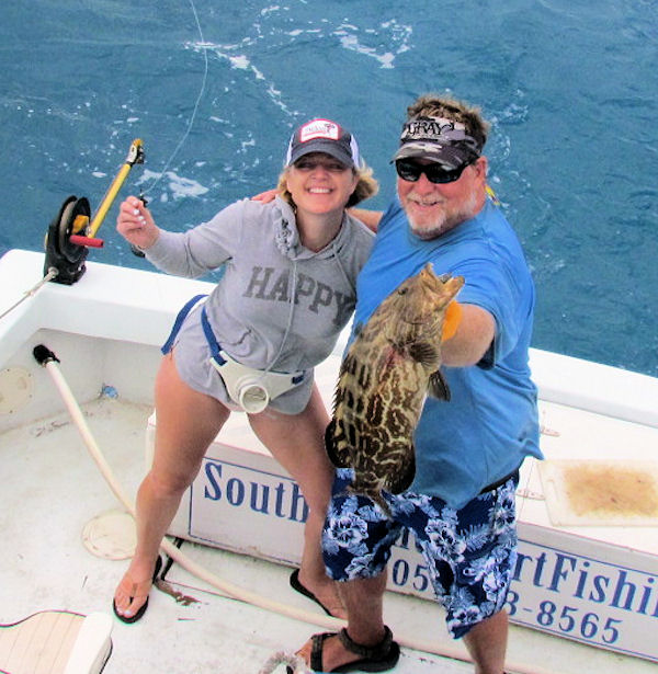 Black Grouper caught and released in Key West fishing on charter boat Soutbound