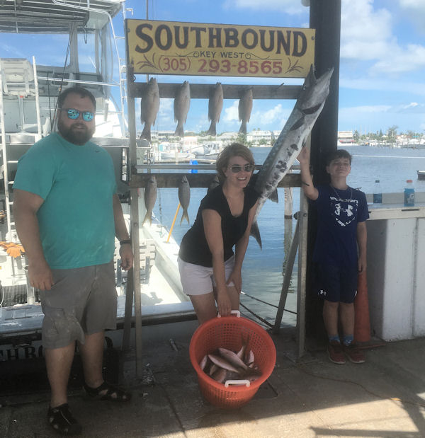 Big Barracuda and Delicious snappers caugth in Key West fishing on charter Boat Southbound