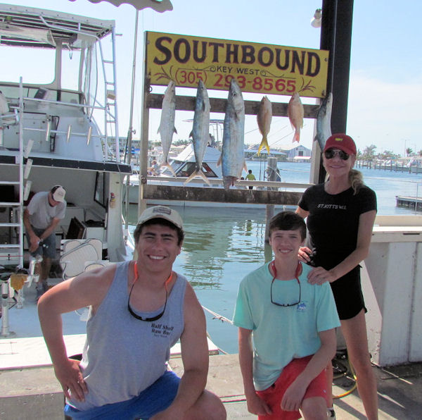 Couple mackerels and a couple snapper caught in Key West fishing on charter boat Southbound