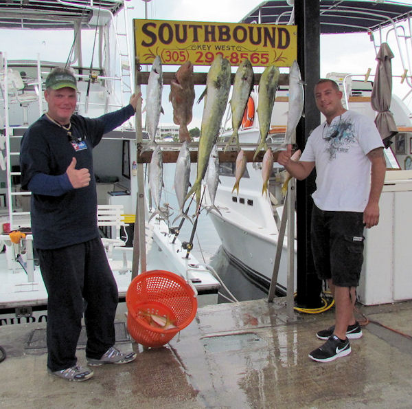 Snapper, Grouper, Mackerel and Dolphin caught fishing Key West on charter boat Southbound from Charter Boat Row Key West