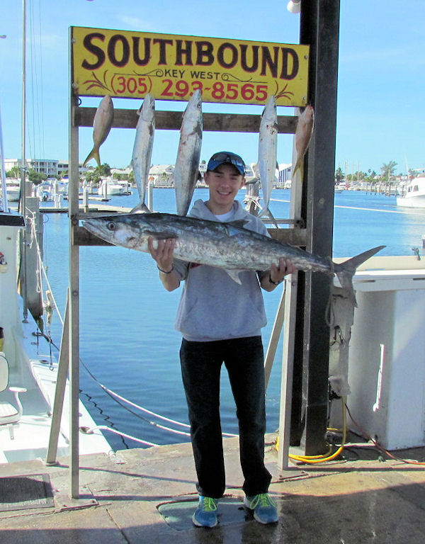 26lb Kingfish caught fishing Key West on charter boat Southbound from Charter Boat Row Key West