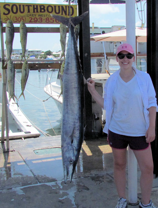 47 1/2 lb wahoo caught in Key West fishing on charter boat Southbound from Charter Boat Row, Key West