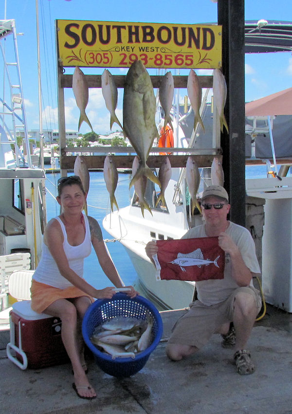 Huge Yellow Jack and Yellow Tail snappers caught in Key West fishing on charter boat Southbound from Charter Boat Row