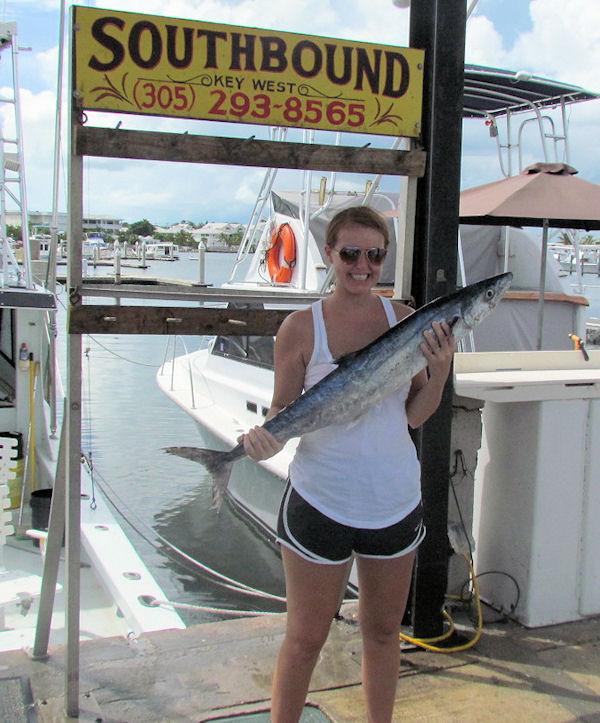 Kingfish caught fishing Key West on charter boat Southbound from Charter Boat Row Key West