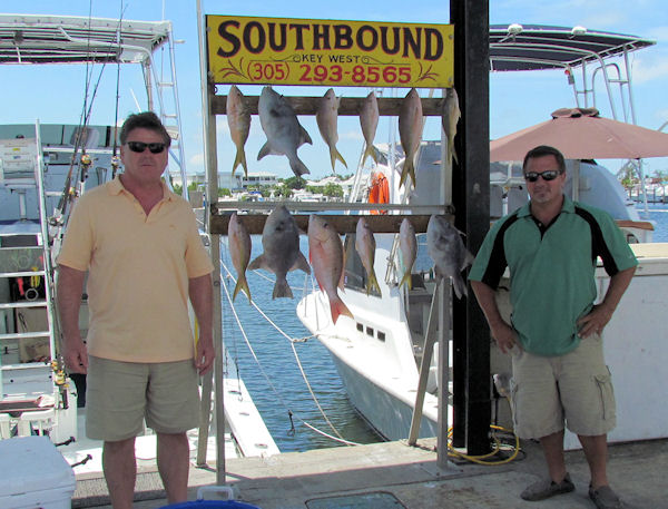 Yellow Tail Snapper and Ocean tallys caught in Key West fishing on charter boat Southbound from Charter Boat Row