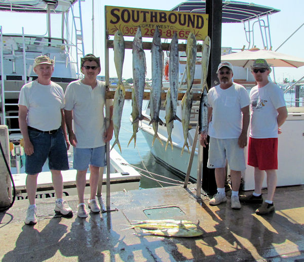 Wahoo and Dolphin caught in Key West fishing on charter boat Southbound from Charter Boat Row, Key West