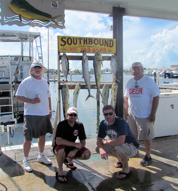 Dolphin, Kingfish and Black Fin Tuna caught fishing Key West on charter boat Southbound from Charter Boat Row Key West