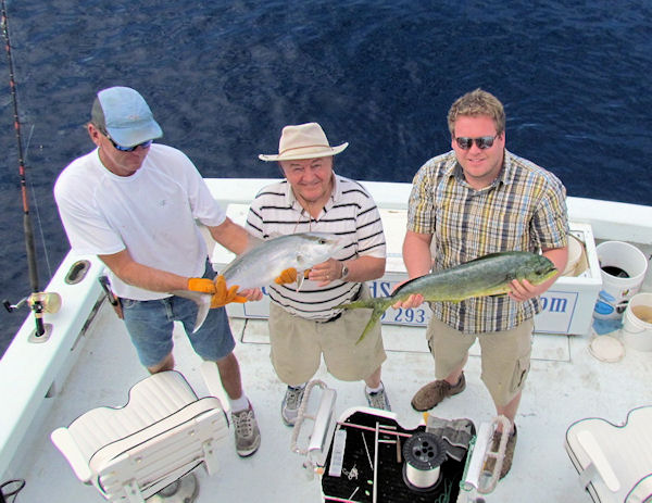 Amber Jack and a dolphin caught fishing Key West on charter boat Southbound from Charter Boat Row Key West