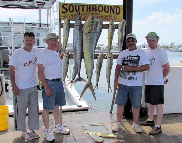 Dolphin and wahoo caught in Key West fishing on charter boat Southbound from Charter Boat Row, Key West