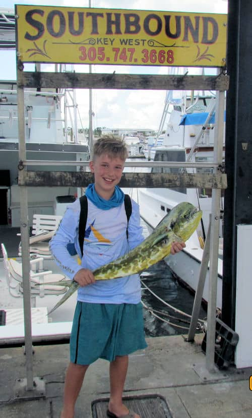 Young angler and a big fish in Key West Florida