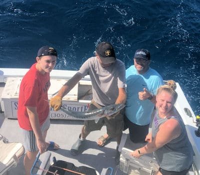 Big barracuda released in Key West fishing on Charter boat Southbound